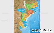 Political 3D Map of Mozambique, satellite outside, bathymetry sea