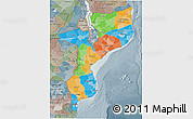 Political 3D Map of Mozambique, semi-desaturated