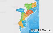 Political 3D Map of Mozambique, single color outside