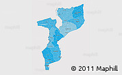 Political Shades 3D Map of Mozambique, cropped outside