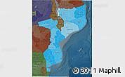 Political Shades 3D Map of Mozambique, darken