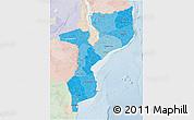Political Shades 3D Map of Mozambique, lighten