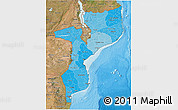 Political Shades 3D Map of Mozambique, satellite outside, bathymetry sea