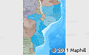 Political Shades 3D Map of Mozambique, semi-desaturated, land only