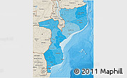 Political Shades 3D Map of Mozambique, shaded relief outside, bathymetry sea