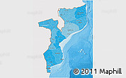 Political Shades 3D Map of Mozambique, single color outside