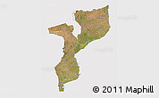 Satellite 3D Map of Mozambique, cropped outside