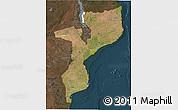 Satellite 3D Map of Mozambique, darken