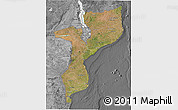 Satellite 3D Map of Mozambique, desaturated