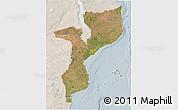 Satellite 3D Map of Mozambique, lighten