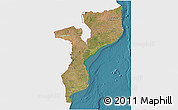 Satellite 3D Map of Mozambique, single color outside