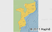 Savanna Style 3D Map of Mozambique, single color outside