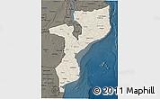 Shaded Relief 3D Map of Mozambique, darken