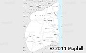Silver Style Simple Map of Cabo Delgado