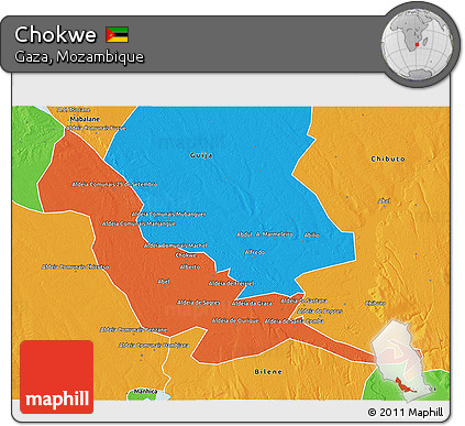 Free Political 3D Map of Chokwe