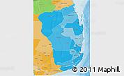 Political Shades 3D Map of Inhambane