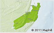 Physical 3D Map of Jangamo, lighten