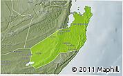 Physical 3D Map of Jangamo, semi-desaturated