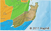 Satellite 3D Map of Jangamo, political outside