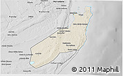 Shaded Relief 3D Map of Jangamo, desaturated