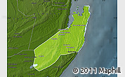 Physical Map of Jangamo, darken