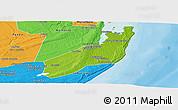 Physical Panoramic Map of Jangamo, political outside