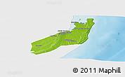 Physical Panoramic Map of Jangamo, single color outside