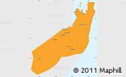 Political Simple Map of Jangamo, single color outside