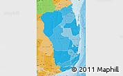 Political Shades Map of Inhambane