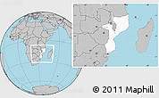 Blank Location Map of Mozambique, gray outside