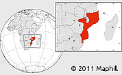 Blank Location Map of Mozambique, highlighted continent