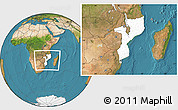 Blank Location Map of Mozambique, satellite outside