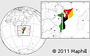 Flag Location Map of Mozambique, blank outside