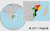 Flag Location Map of Mozambique, gray outside