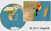 Flag Location Map of Mozambique, satellite outside