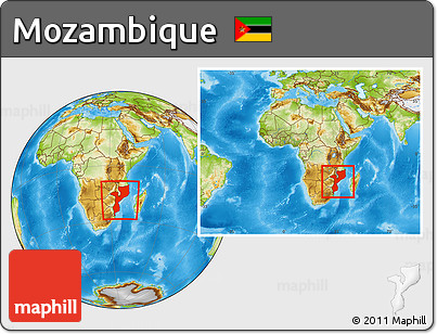 Physical Location Map of Mozambique, within the entire continent