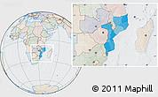 Political Location Map of Mozambique, lighten, semi-desaturated