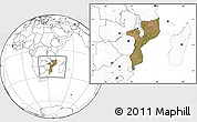 Satellite Location Map of Mozambique, blank outside