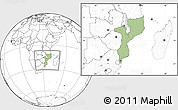 Savanna Style Location Map of Mozambique, blank outside