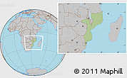 Savanna Style Location Map of Mozambique, gray outside