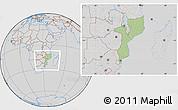 Savanna Style Location Map of Mozambique, lighten, desaturated
