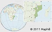 Savanna Style Location Map of Mozambique, lighten