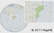 Savanna Style Location Map of Mozambique, lighten, semi-desaturated