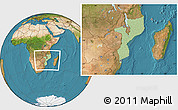 Savanna Style Location Map of Mozambique, satellite outside