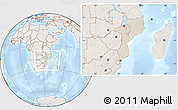 Shaded Relief Location Map of Mozambique, lighten