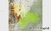 Physical Map of Sussundenga, semi-desaturated