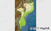Physical Map of Mozambique, darken