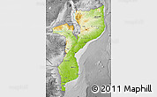 Physical Map of Mozambique, desaturated