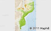 Physical Map of Mozambique, lighten
