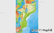 Physical Map of Mozambique, political outside, shaded relief sea